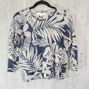 Loft Italian yarn tropical print sweater Navy S